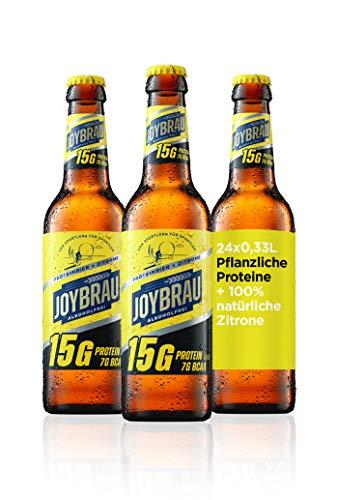 JoyBräu Proteinbier Zitrone natürlich alkoholfrei für Muskelaufbau: 15g veganes Protein, 7g vegane BCAA, mit Vitaminen, 24x0,33l