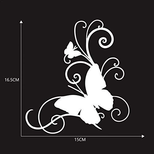 Autoaufkleber Blumen blumenaufkleber autotattoos selbstklebend Aufkleber Fenster Schwarz Weiß wasserfest Wand-Tattoo Klebe-Folie mit Schmetterlingen Blumen-Ranke