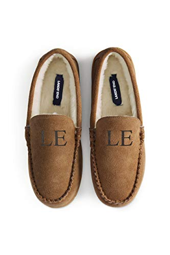 Lands' End Men's Suede Leather Moccasin Slippers Indoor and Outdoor Shoes