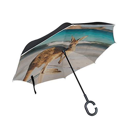 Doppelschicht-umgekehrte umgekehrte Regenschirme für Frauen EIN Känguru Stehen Oben in den Wiesen-Rückseiten-Regenschirm für Männer Klappschirm Winddichter UV-Schutz für Regen mit C-förmigem Griff