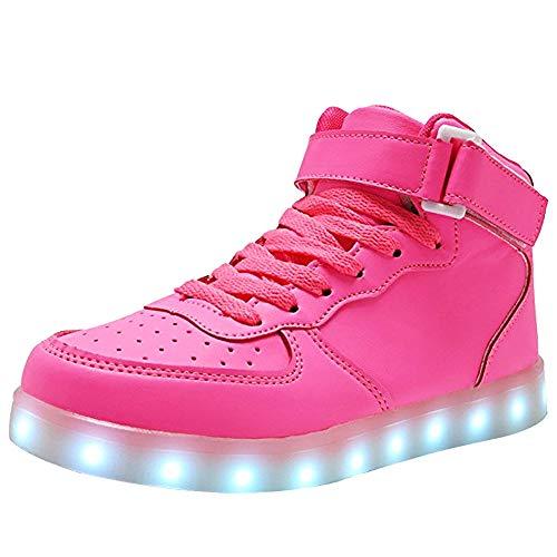 WONZOM Unisex High Top LED Light Up Schuhe USB Charging Turnschuhe-42(Rosa)
