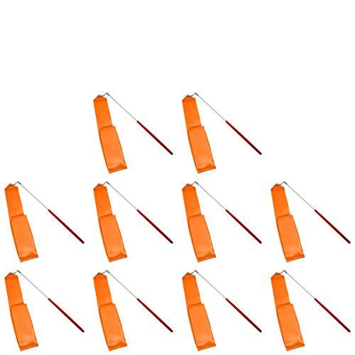 E-Goal Cintas de Gimnasia rítmica, 4 m y con Ojal Antideslizante de Metal de Larga Longitud (10pcs Naranja)