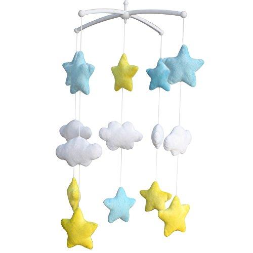Fait à la Main en Peluche lit bébé Mobile Mignon Bleu Jaune étoile Nuage bébé Musical Mobile Kids Room Decor