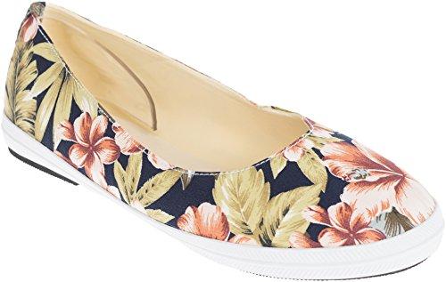 Unbekannt Fifties TIKI Vintage Hibiscus Floral Retro Schuhe BALLERINAS Flats Rockabilly