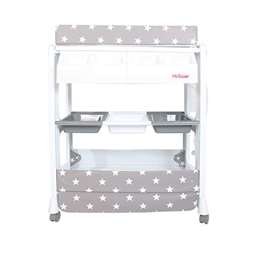 My Babiie Grey Stars Baby Bath and Changing Table