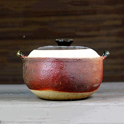 MYYINGELE Japanese Donabe Ceramic Hot Pot, Heat Resistant Casserole with Lid, Small Round Earthenware Clay Pot, Rice Cooker for Stew Soup Noodles, A, 4.5L