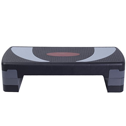 Searchbuystore 30 Fitness Aerobic Step Exercise Stepper Platform Adjust 4- 6- 8 w/ Riser by Goplus