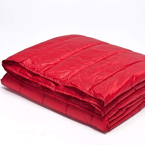 PUFF Down Alternative Indoor/Outdoor Water Resistant Blanket with Extra Strong Nylon Cover, King, Red