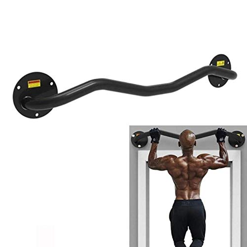 XEWNEGTZI Barra para dominadas, barra para dominadas de acero inoxidable a la pared, equipo de fitness portátil para oficina doméstica, carga 150 kg (negro, plata, 100 × 15 cm) (color: negro)