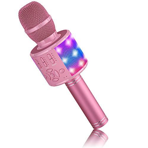 Mikrofon für Kinder Drahtlos, BONAOK Magic Sound Karaoke-Mikrofon, 4 in 1 Bluetooth Karaoke Maschine, Karaoke Mikrofon Gesangsmaschine für Erwachsene, für Party/Outdoor/Reisen (Rosa)