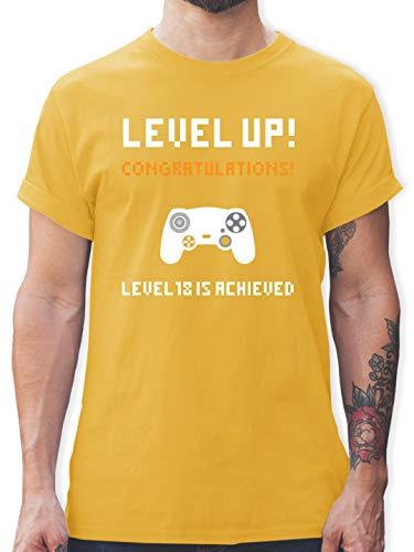 Geburtstag - 18. Geburtstag - Gamer Level 18 - M - Gelb - t-Shirt+Level+18 - L190 - Tshirt Herren und Männer T-Shirts