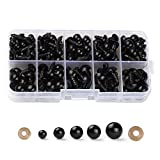 100PCS 6mm-12mm Solid Black Eyes with Washers, Sewing for DIY of Puppet, Plush Animal Making and Teddy Bear