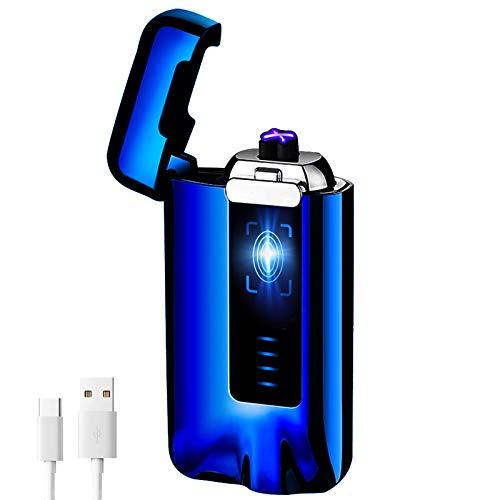 KIMILAR Elektro Feuerzeug USB, Lichtbogen Feuerzeug Berührungssensor Dual Aufladbar Winddicht Flammenloser mit USB-Kabel für Küche Grill Kerzen Zigaretten (Geschenkverpackung) (Blau)