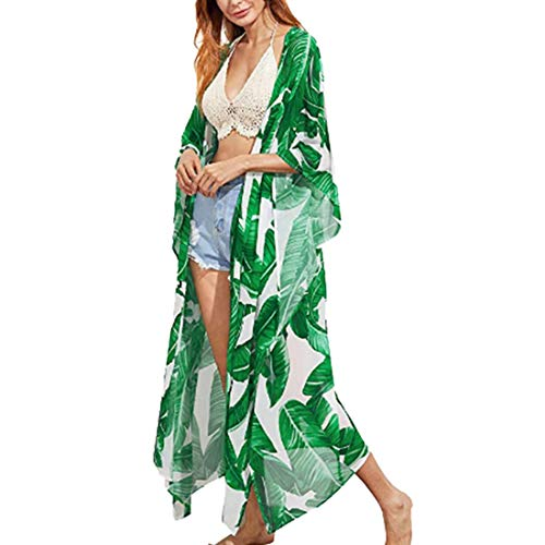 Biofieay Kimono - Cárdigan para Playa, para Mujer, Gasa Kaftan Boho Maxi Largo Bikini Swimsuit Cover-ups Wrap Verde Leaf Style L