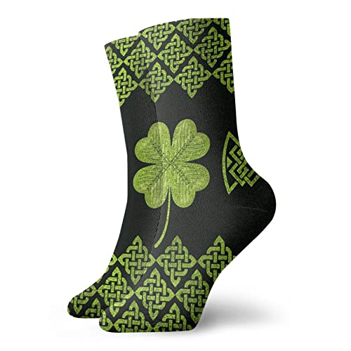 Sock Moisture Wicking Cool Crew Socks Casual Cushioned Breathable Ankle Socks Irish Four Leaf Lucky Clover Vintage Celtic knot Patterned Socks for child teen