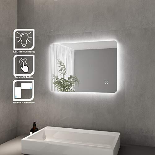 Elegant Led Badspiegel 50x70 cm Badspiegel mit Beleuchtung und Touchschalter kaltweiß Badezimmer Wandspiegel Energiesparend LED Badezimmerspiegel IP44