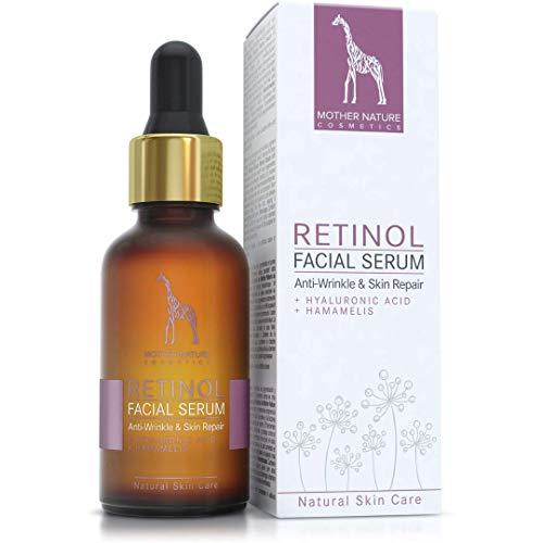 DER SIEGER 2020* - Retinol Serum HOCHDOSIERT - 2,5% Retinol Anti-Aging Formel mit Hyaluronsäure und Hamamelis - VEGAN - 30 ml MADE IN GERMANY - Feuchtigkeitsspendende Gesichtspflege, gegen Falten