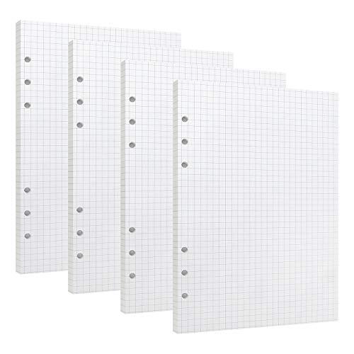 Kariertes Papier A5 6 Löcher Nachfüllpapier Quadratisches Liniertes Papier Refill Paper für Filofax A5 Notizen DIY Bullet Journal Skizze Malerei 4 Packung, Insgesamt 180 Blätter