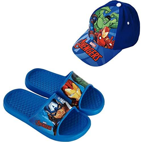 Chanclas Avengers Flip-Flop para Playa o Piscina + Gorra Avengers Marvel para Niños (Azul, Numeric_26)