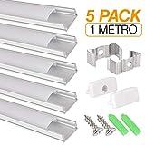 Perfil de aluminio para tira LED, Pack de 5 canaletas...