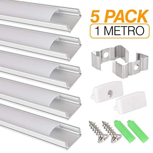 Perfil de aluminio para tira LED, Pack de 5 canaletas de 1 metro para LED con cubierta / tapa blanca translucida protectora. Incluido todo necesario para montaje. (PLATA 00)