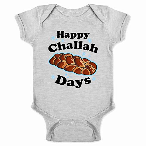 Pop Threads Happy Challah Days Funny Hanukkah Gray 6M Infant Baby Boy Girl Bodysuit