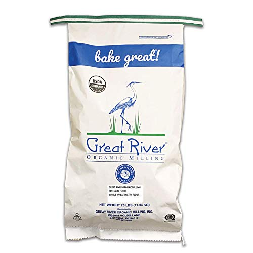 Great River Organic Milling, Specailty Flour, Whole Wheat Pastry Flour, Stone Ground, Organic, 25-Pounds (Pack of 1)
