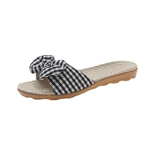 NMERWT Frauen Hausschuhe Neue Art und Weise Slipper Damen Sommer Sandelholze Knoten Slipper Mode Lässig Hausschuhe Strandschuhe Flachbesohlte Schuh