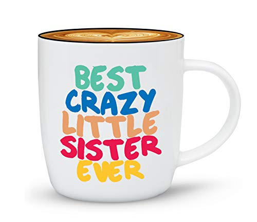 Triple Gifffted The Best Crazy Little Sister Ever Coffee Mug, Sisters Day Gift Ideas to My Worlds Greatest Sister For Birthday, Rakhi, Christmas Mugs, Valentines, Mothers Day, Funny Gifts by Brother