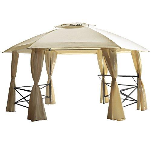Pavillon Lima 6-eckig mit Stahlgestell, Dach und Seitenteilen