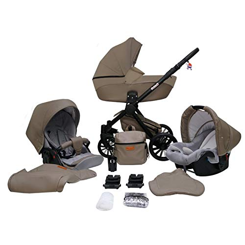 Kinderwagen Pram Pushchair Isofix Autostoel DIN EN 1888 Stelvio door Lux4Kids 3in1 with baby seat Brown 16