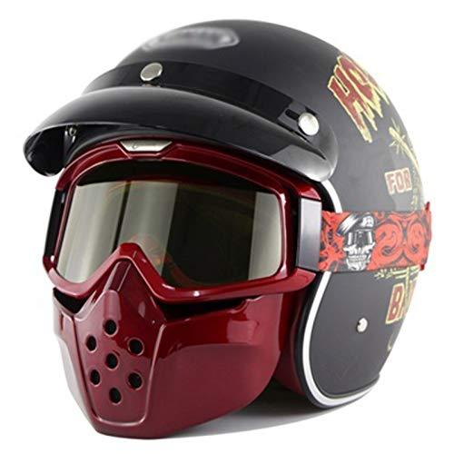 GAOZHE Transpirable Mantener Caliente Casco Jet Cascos Half-Helmet Retro Casco Moto,Vintage Classic Abierto Cascos Half-Helmet,con Visera,Jet Cascos,Bike Cruiser Chopper Moped Scooter