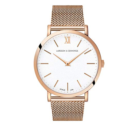Larsson & Jennings LJXII Lugano Unisex Mens & Womens Watch with 40mm Satin White dial and Rose Gold Rose Gold Plated Stainless Steel Strap LX40-MRG-RGW.