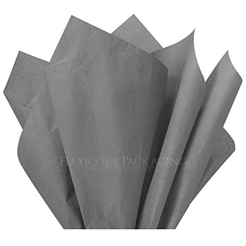 Flexicore Packaging Gray Gift Wrap Tissue Paper Size: 15 Inch X 20 Inch   Count: 100 Sheets   Color: Gray