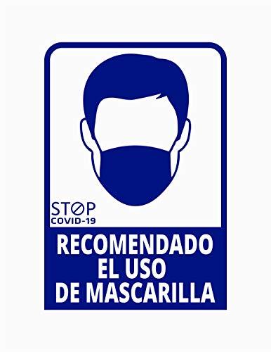 Pegatina Recomendado el uso de mascarilla, Prevención COVID-19, diseñado para empresas, como medida de protección contra el Coronavirus - Cartel prevención (Azul Oscuro)