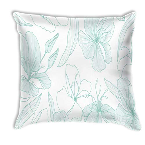 zhkx Throw Pillowcase Luxury Vintage Floral Line Arts Wallpaper Design Exotic Botanical Wallpaper Vintg Home Sofa Chair Seat Office Square Pillow Case Good Gift 18x18 Inches