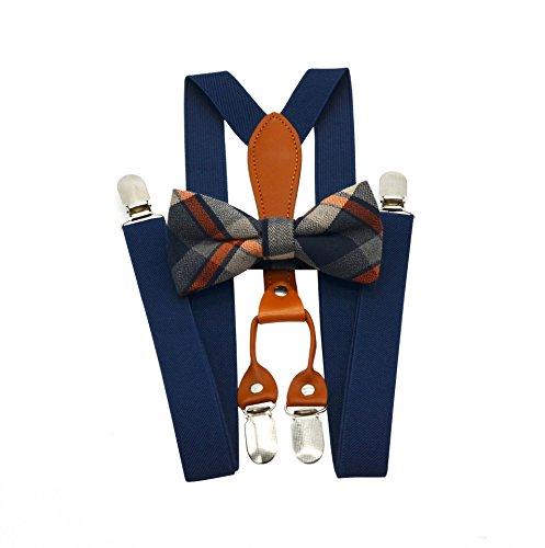 Conjunto de tirantes elásticos en X y pajarita para hombre, para bodas y eventos formales Navy blue1