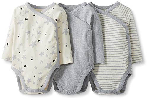 Moon and Back by Hanna Andersson Lot de 3 Bodies à manches longues en coton bio, avec boutons-pression latéraux, pour bébés, gris, 0 mois (49 CM)
