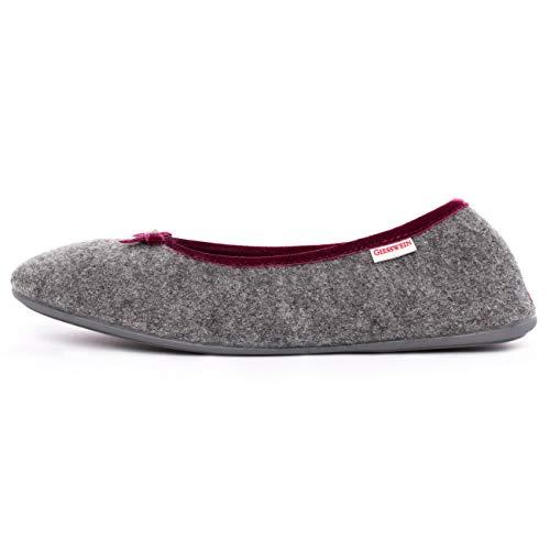 GIESSWEIN Hausschuh Hohenau - geschlossene Damen Hausschuhe im Ballerina Design | Warme Filz Pantoffeln aus 100% Wolle | leichte Filzhausschuhe