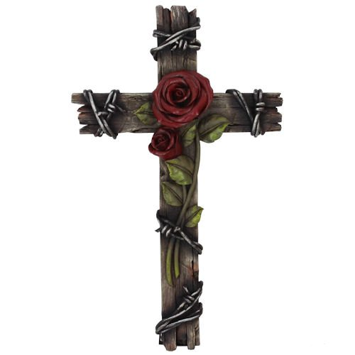 Polly House Rose with Wood Look 10 inch CROSS Wall Cross for Home Decoration and Great for Gifts