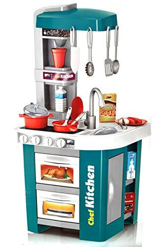 Brigamo Große Spielküche, Kinderküche mit funktionierenden Herdplatten und Wasserhahn