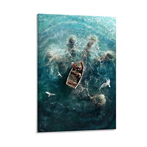 Stampa su tela di canapa con immagini di drago Cthulhu Mythos Sconosciuto paura gigante galleggiante a mano grande Old Ones, decorazione da parete per la casa, 20 x 30 cm