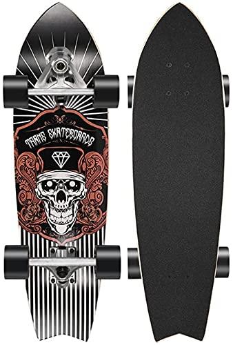 Surfskate Skateboard Longboard 76cm Skateboards Principiantes Cruiser en Planes Retro con 8 plenadas CX4 Terreno Surfboard Vintage Skate con rodamientos ABEC-11 Unisex para Adultos-F