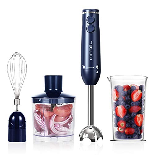 Hand Blender - 500 Watt Immersion Electric Stick Blender Set with 500ML Food Processor 600ML Measuring Cup SUS blending attachment and Wire Whisk - Blue Classical Type
