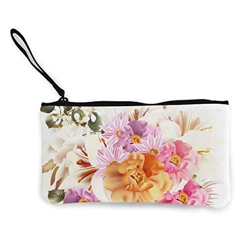 Schönes Blumenstrauß-Portemonnaie aus Leinen, exquisite Münzbörse, kleine Geldbörse aus Leinen, dient zum Aufbewahren von Münzen, Ausweisen und anderen