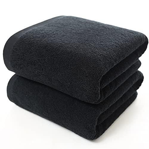 Toalla de baño de microfibra de 70* 140 cm negro grande 500 g de algodón grueso, una toalla de baño para adultos