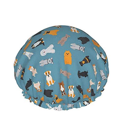 Gorro de ducha para mujer, impermeable, varios cachorros de doble capa, reutilizable, con bandas elásticas, adecuado para cualquier circunferencia de la cabeza, longitud y grosor del cabello.