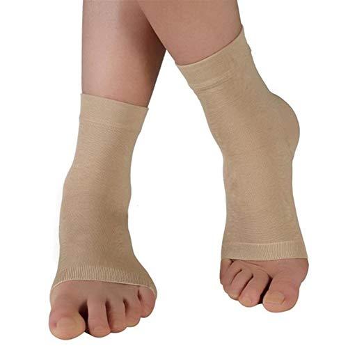 HUAJIANGHU Knöchel Bandage 1 para Compress Knöchelschutz Sport Fitness Unterstützung Fuß Bandage Elastische Knöchelbandage Schutz Plantar Fasciitis Socken (Color : Beige, Size : L)