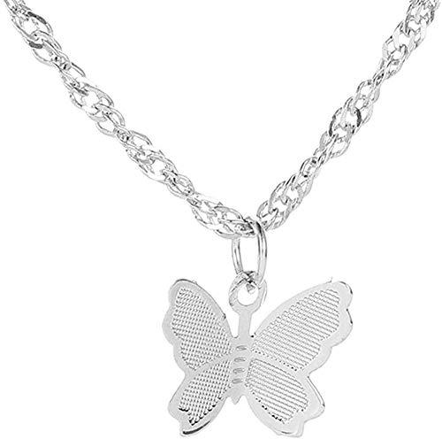 AOAOTOTQ Co.,ltd Collar Mariposa Collares Colgantes Mujer Gargantillas Collar Cadena de Onda de Agua Babero Oro Amarillo Lleno Joyas Gruesas