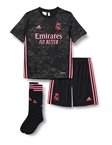 adidas Madrid Temporada 2020/21 Real 3 Y Kit Conjunto Tercera equipación, Niño, Negro, 164